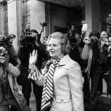British Conservative leader, Margaret Thatcher, faces the press outside London's Europa Hotel, after her victory in the leadership election in 1975.