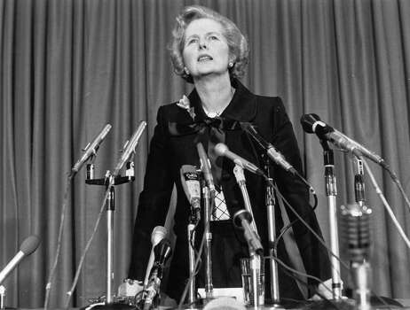 Margaret Thatcher at a press conference in 1975. Photo: Graham Wood, File / Hulton Archive