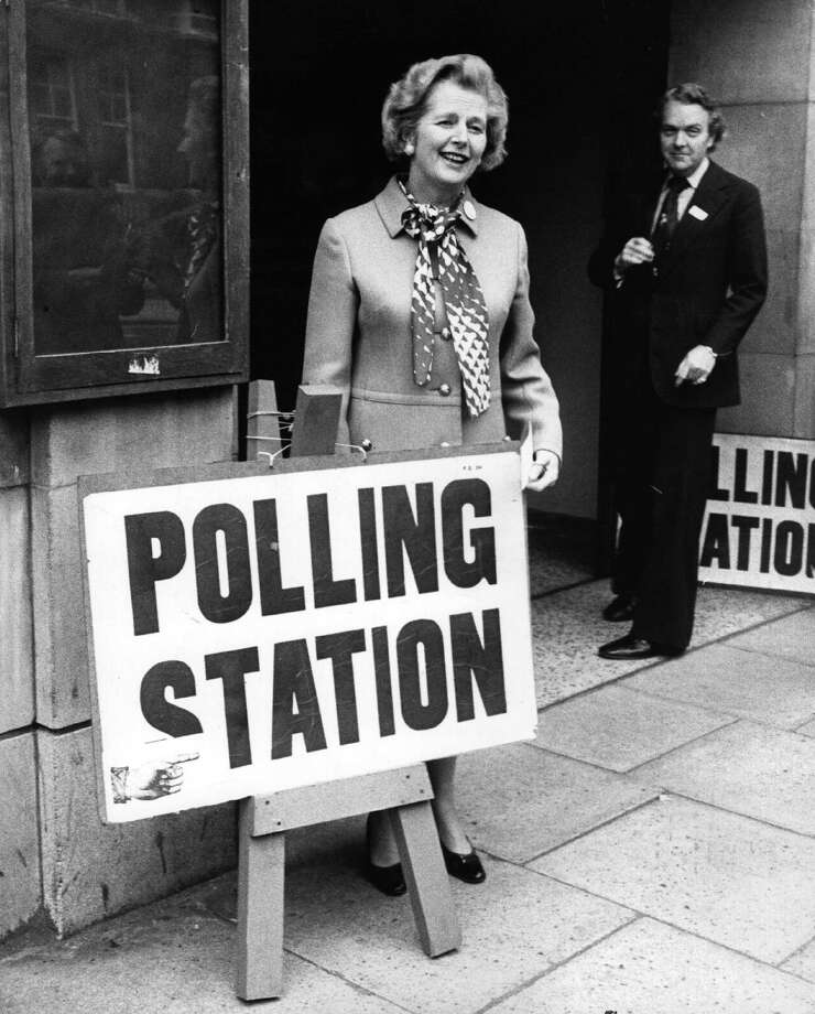 English politician Margaret Thatcher, (Baroness Thatcher), leader of the Opposition, outside a polling station in Chelsea, London, to cast her vote in the Common Market Referendum in 1975. Photo: Keystone, File / Hulton Archive