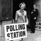 English politician Margaret Thatcher, (Baroness Thatcher), leader of the Opposition, outside a polling station in Chelsea, London, to cast her vote in the Common Market Referendum in 1975.