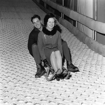 Conservative MP Margaret Thatcher has fun on a ski run in Battersea Park with instructor Joe Hoki in 1962. Photo: Reg Lancaster, File / Hulton Archive