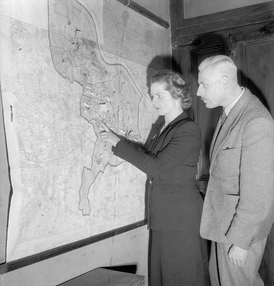 Margaret Roberts, later Thatcher, the youngest candidate in the Conservative Party, plans her election campaign in 1950. Photo: Chris Ware, File / Hulton Archive