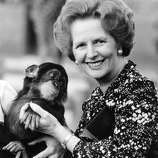 British prime minister Margaret Thatcher (right) holding a chimpanzee in 1985.