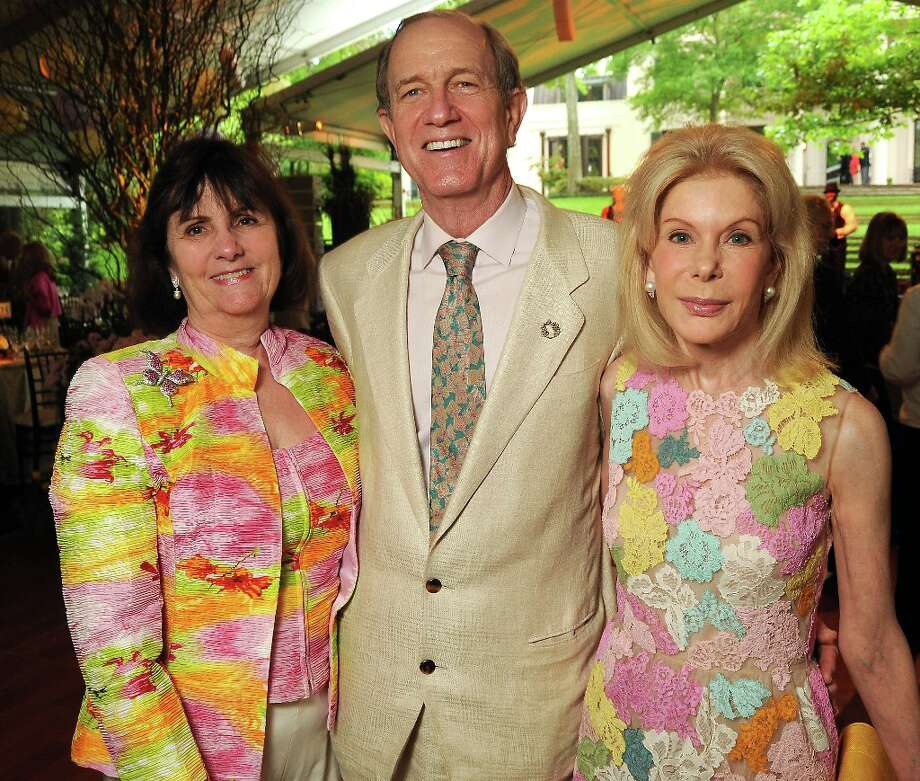 From left: Leslie and Brad Bucher with Frances Marzio at the annual Bayou Bend Garden Party Sunday April 7, 2013.(Dave Rossman photo) Photo: Dave Rossman, For The Houston Chronicle / © 2013 Dave Rossman