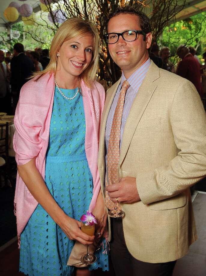 Andrea and Chris Dvorachek at the annual Bayou Bend Garden Party Sunday April 7, 2013.(Dave Rossman photo) Photo: Dave Rossman, For The Houston Chronicle / © 2013 Dave Rossman