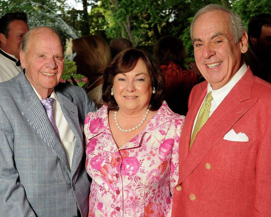 From left: Harry and Rose Cullen with John Daugherty at the annual Bayou Bend Garden Party Sunday April 7, 2013.(Dave Rossman photo) Photo: Dave Rossman, For The Houston Chronicle / © 2013 Dave Rossman
