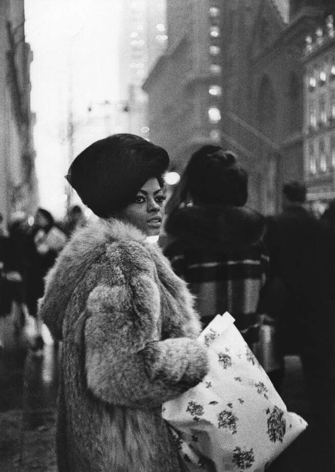 "Motown recording star Diana Ross (of the Supremes) shops on 5th Avenue before a performance on the TV show ""Hullabaloo\"" circa 1965 in New York City, New York. Photo: Michael Ochs Archives, Getty Images / Michael Ochs Archives"