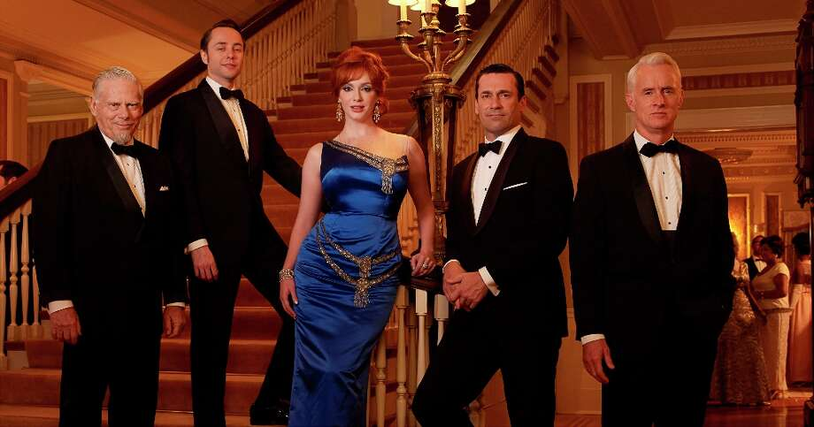 "Bertram Cooper (Robert Morse), Pete Campbell (Vincent Kartheiser), Joan Harris (Christina Hendricks), Don Draper (Jon Hamm) and Roger Sterling (John Slattery) in season 6 of ""Mad Men.\"" Photo: Frank Ockenfels, AMC / ONLINE_YES"