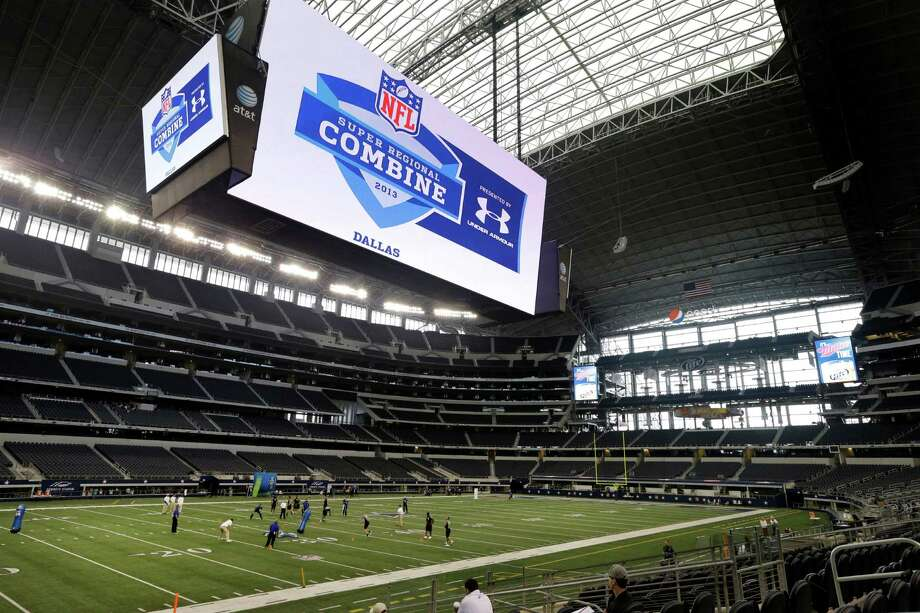 Athletes participate in the NFL super regional football combine at Cowboys Stadium Sunday, April 7, 2013, in Arlington, Texas. (AP Photo/Tony Gutierrez) Photo: Associated Press