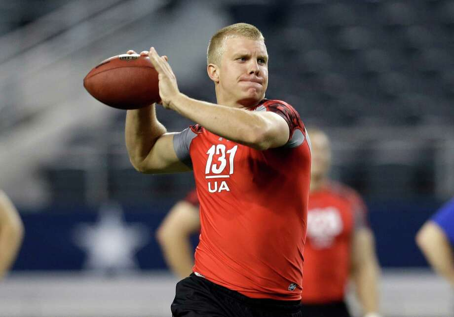 Nathaniel Montana, son of Hall of Fame quarterback Joe Montana, passes during the NFL super regional football combine Monday, April 8, 2013, in Arlington, Texas. (AP Photo/Tony Gutierrez) Photo: Associated Press