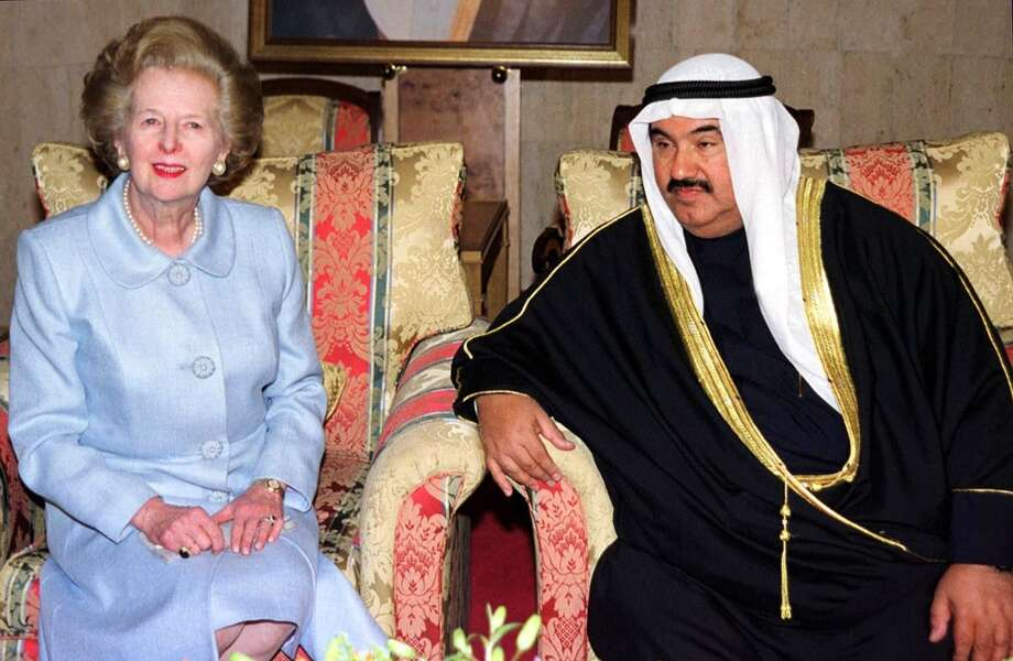 "(FILES) - A picture dated February 24, 2001 shows former British prime minister Margaret Thatcher (L) meeting with then Kuwaiti Minister of the Royal Court Sheikh Nasser Mohammed al-Sabah upon her arrival in Kuwait City for a two-day celebration to mark the emirate's national day and a decade of liberation from Iraq. Former British prime minister Margaret Thatcher, the ""Iron Lady"" who shaped a generation of British politics, died following a stroke on April 8, 2013 at the age of 87, her spokesman said. AFP PHOTO/FILES/Yassser AL-ZAYYATYASSER AL-ZAYYAT/AFP/Getty Images Photo: YASSER AL-ZAYYAT, AFP/Getty Images / AFP"
