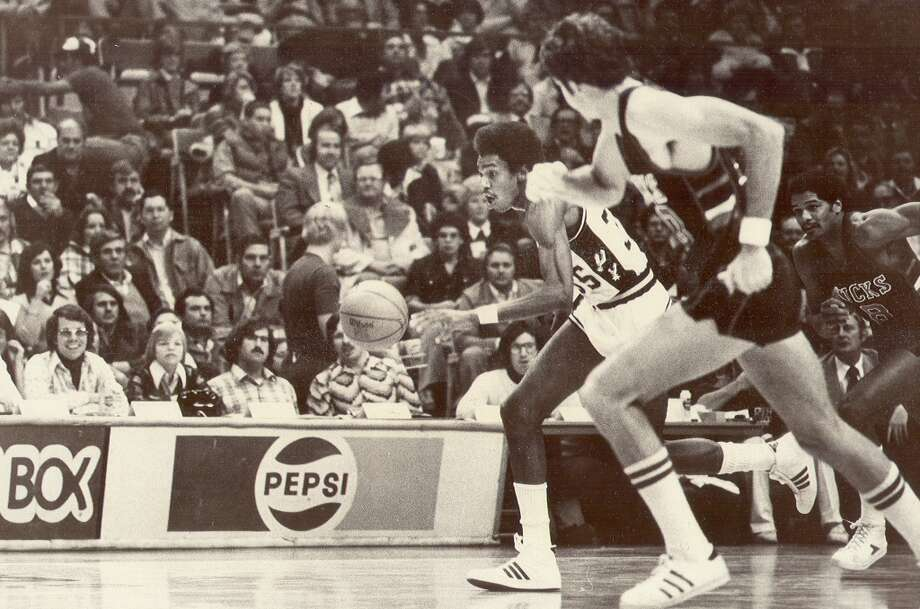 Spurs\' Larry Kenon vs. the Milwaukee Bucks in 1978 at the HemisFair Arena. Photo: Express-News File Photo