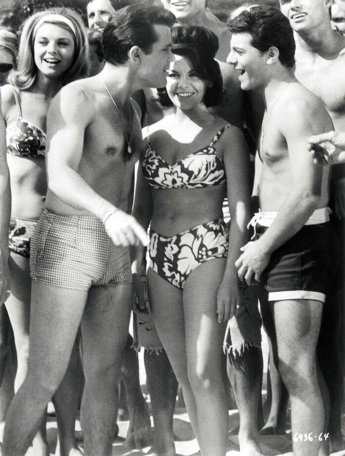 "Walt Disney wouldn't allow Annette Funicello to wear a bikini until the last installment of the ""Bikini Beach"" movies, according to Kelly Killoren Bensimon's ""The Bikini Book,"" published by Assouline. She mostly wore two-piece bathing suits that covered her navel. Photo: AP / ASSOULINE"