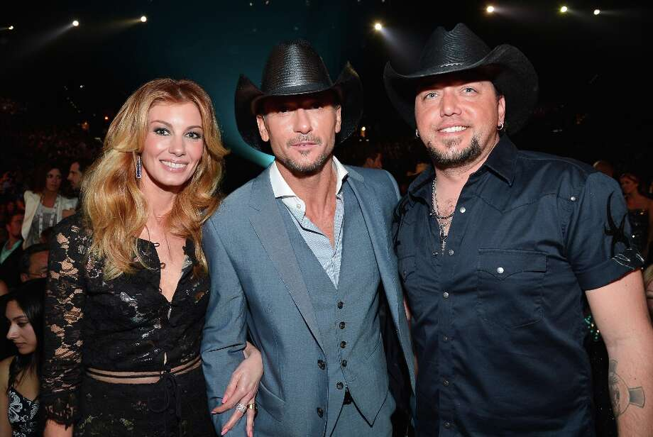 (L-R) Singers/musicians Faith Hill, Tim McGraw and Jason Aldean attend the 48th Annual Academy of Country Music Awards at the MGM Grand Garden Arena on April 7, 2013 in Las Vegas, Nevada. Photo: Frazer Harrison/ACMA2013, Getty Images For ACM / Frazer Harrison/ACMA2013