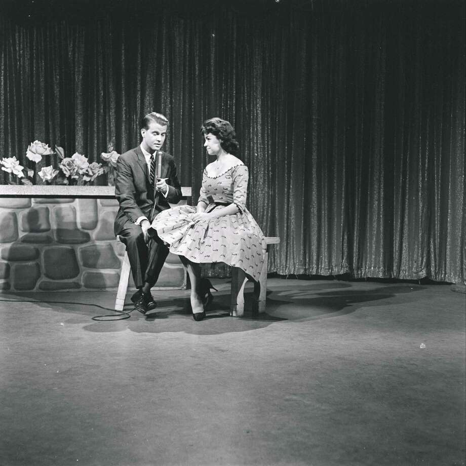 "Dick Clark and Annette Funicello on the set of ""American Bandstand"" in 1959. Photo: ABC Photo Archives, File / 2010 American Broadcasting Companies, Inc."