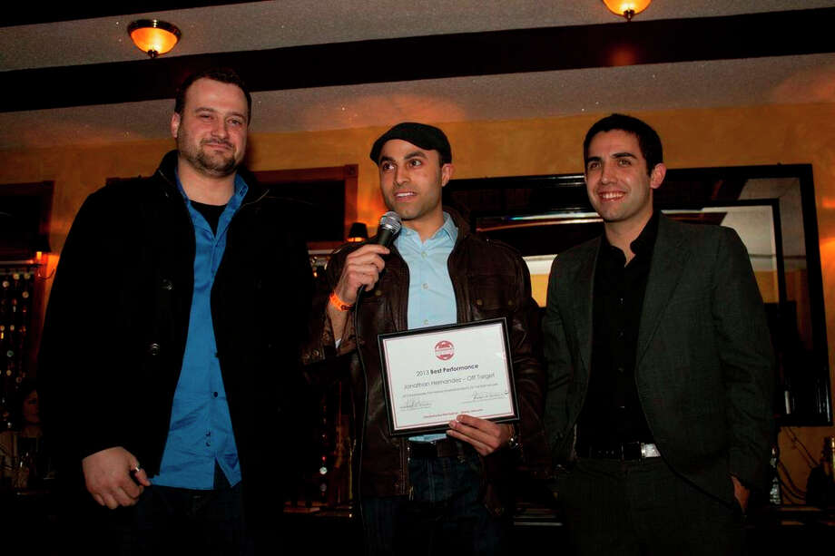 "Filmmaker Bruce Wemple, right, and actor Jonathan Hernandez, center, won Best Picture and Best Performance ""Off Target\"" (Knickerbocker Film Festival)"