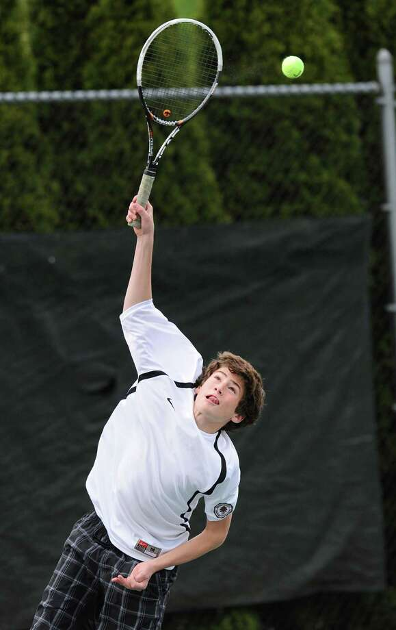 Youth is one of the strengths of the Brunswick tennis team, according to Bruin coach George Boynton, thanks to players such as sophomore Jack Turchetta, above. Photo: Bob Luckey / Greenwich Time