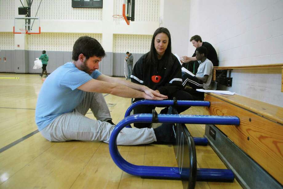 Scott Gargan returns to high school at 29 to take the Connecticut Physical Fitness Assessment with students in Shari Paci's gym class at Stamford High School, March 25, 2013. Photo: Dru Nadler / Stamford Advocate Freelance