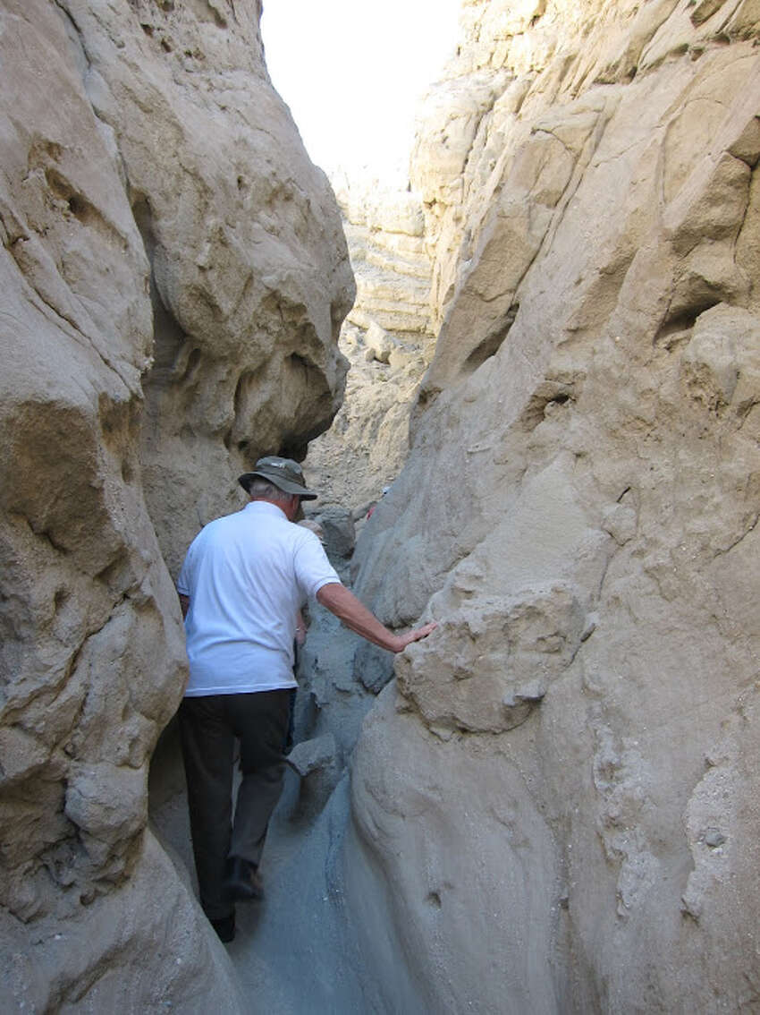 A short drive from Palm Springs in the Coachella Valley Preserve, you can hike around the San Andreas faultline and slot canyons.