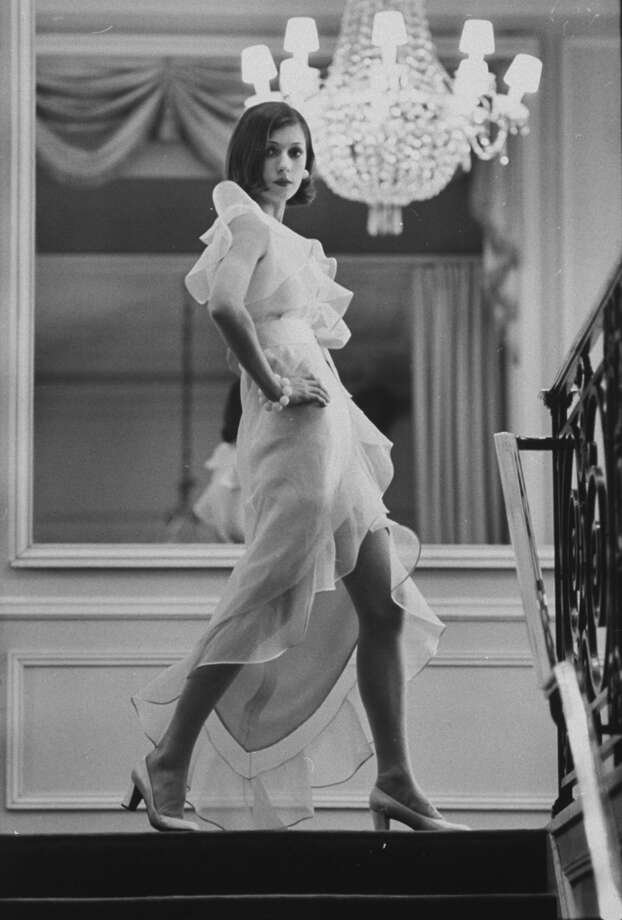 Model Prunelia wearing a Marc Bohan evening dress.  (Photo by Bill Ray//Time Life Pictures/Getty Images) Photo: Bill Ray, Time & Life Pictures/Getty Image / Time Life Pictures