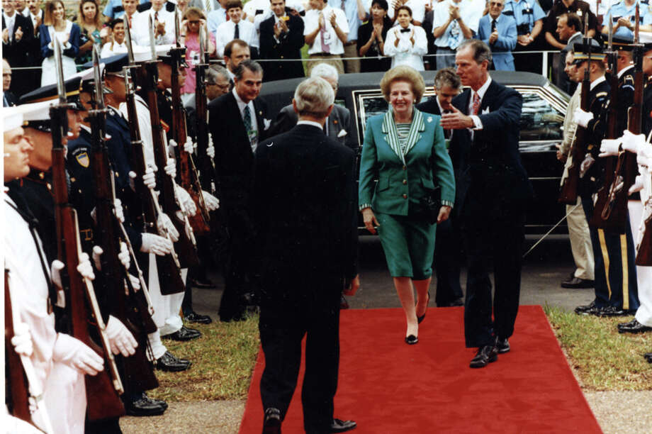 Margaret Thatcher arriving at Rice University for the G-7 summit in July 1990.See more photos: Thatcher's life through the years. Photo: Rice University