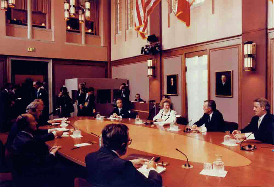 G-7 members meeting in the Founders Room at Rice University in July 1990.See more photos: Thatcher's life through the years. Photo: Rice University