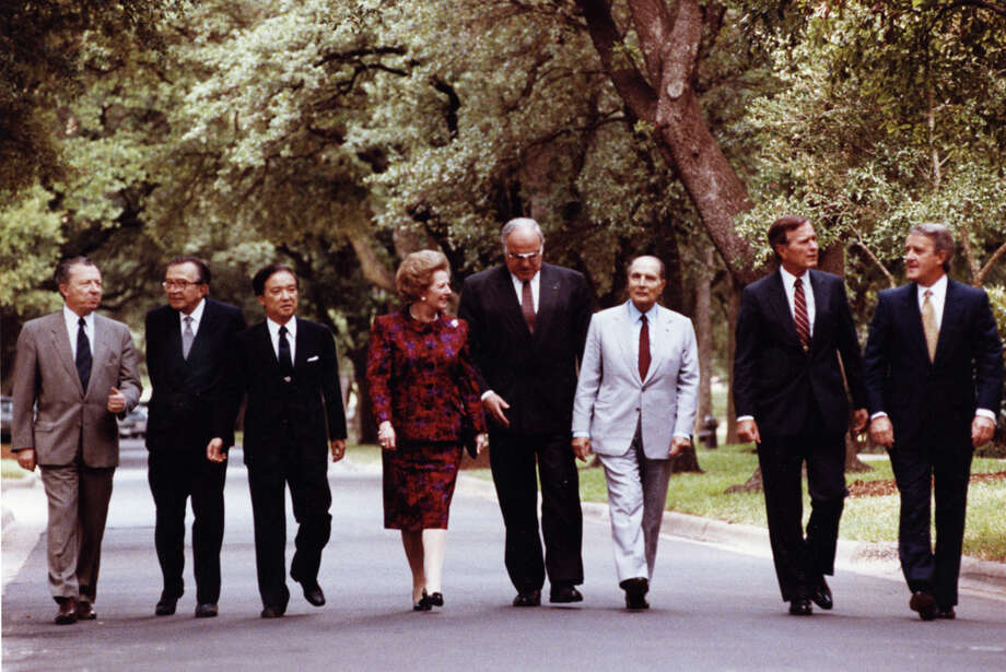 "The G-7 members walking on the ""inner loop"" at Rice University in July 1990.See more photos: Thatcher's life through the years. Photo: Rice University"