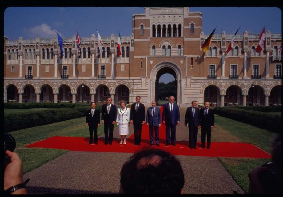 G7 Economic Summit of Industrialized Nations world leaders in front of Lovett Hall, Rice University. Factoid: There is a memorial of the G7 summit on the grounds of Rice University outside of the Rice Memorial Center. Seven stone blocks represent the seven nations that participated in the meetings.See more photos: Thatcher's life through the years. Photo: Rice University / Rights to this material belong to Rice University. This digital version is licensed under a Creative Commons Attribution 3.0 Unported license.