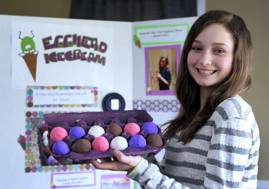 "Hannah Pucci, 12, of Danbury, Conn. invented a way to package ice cream, called "" Egghead Ice Cream.""  Hannah was part of the Danbury public school's Invention Convention and went on to win an award winner at the state convention last year. Photo: Carol Kaliff"