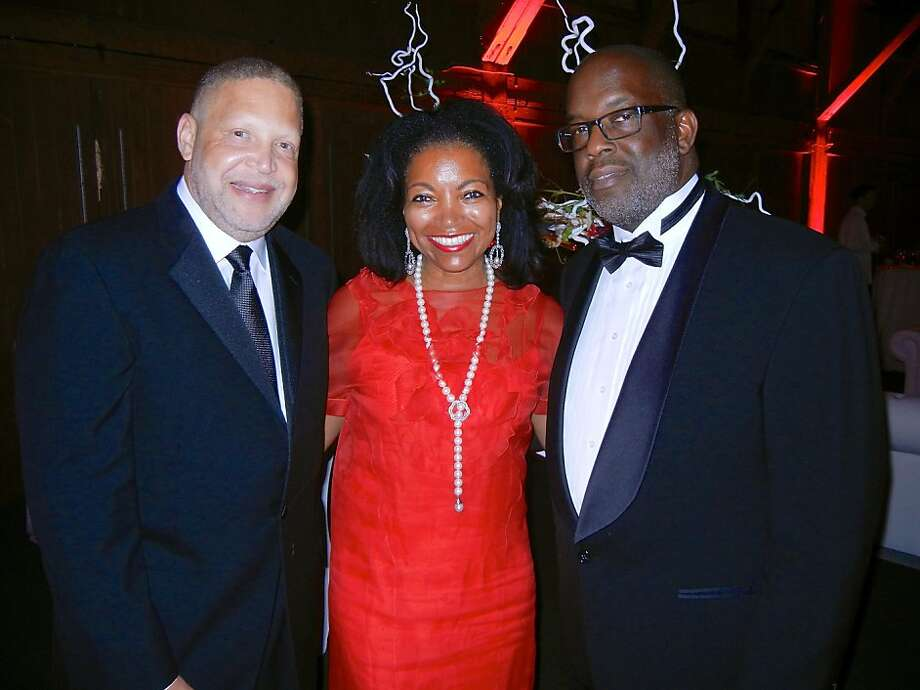 Greg Adams (left), Kaiser Permanente's Northern California group president, with Denise Bradley-Tyson and her husband, Kaiser Permanente President-CEO Bernard Tyson, at the Hope by Design gala. Photo: Catherine Bigelow, Special To The Chronicle