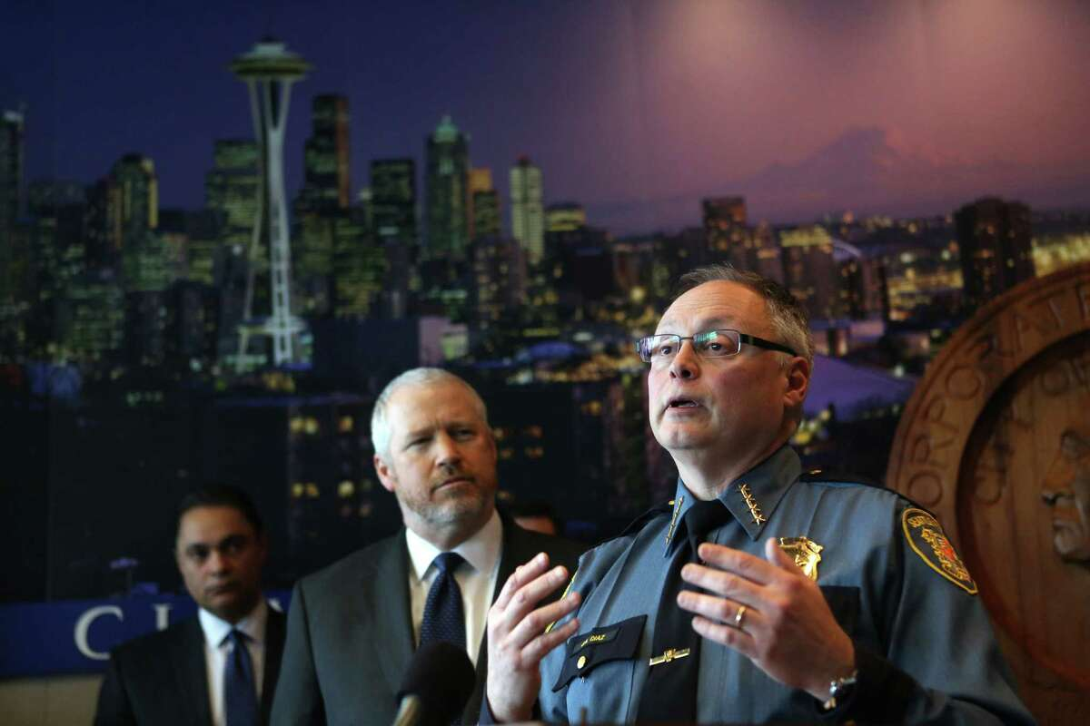 Seattle Police Chief John Diaz addresses the public during a press conference where he announced his retirement on Monday, April 8, 2013 at City Hall in Seattle. Behind Diaz is Seattle Mayor Mike McGinn.