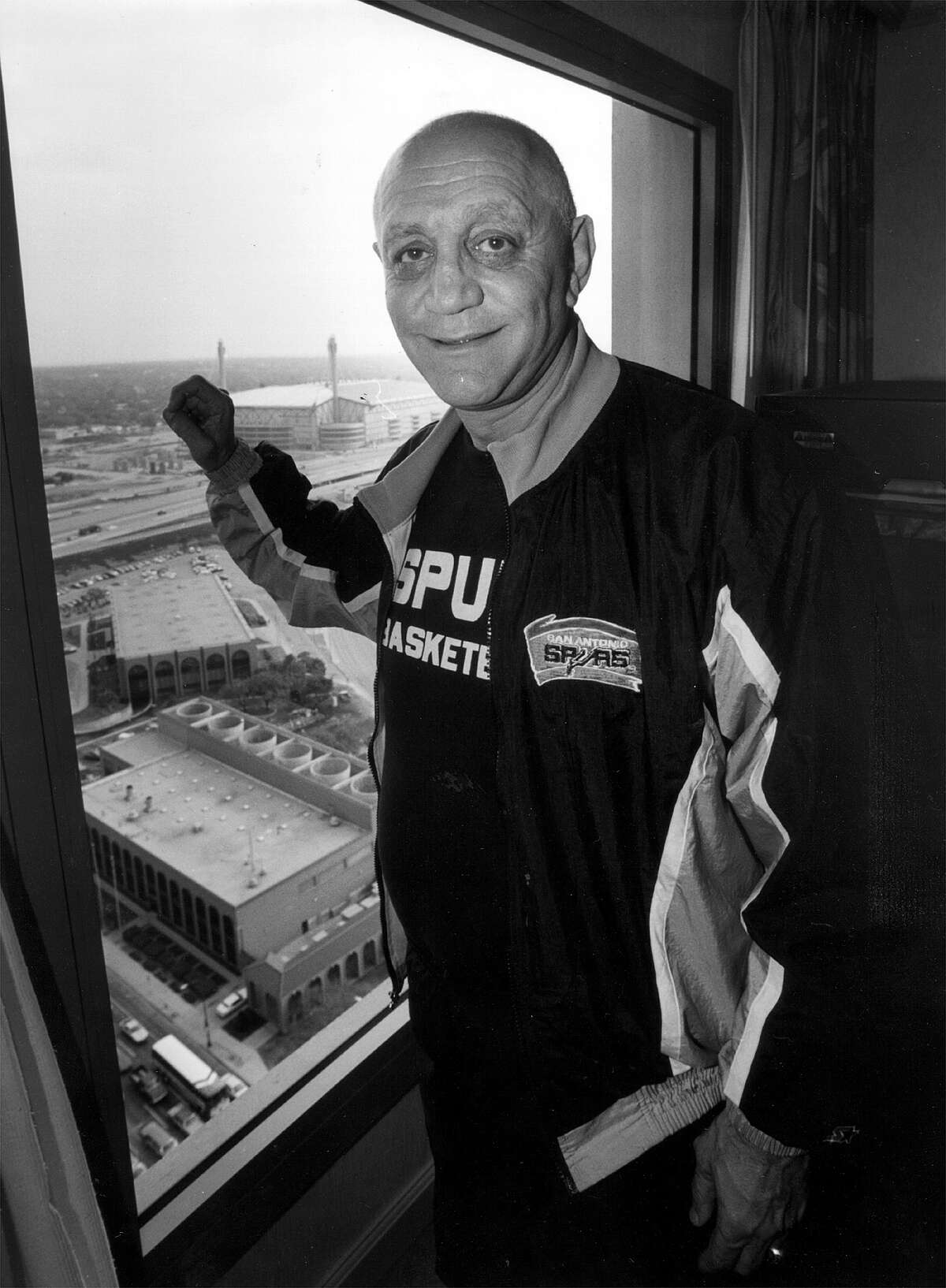 Former Spurs coach Jerry Tarkanian lived in a hotel room overlooking the Alamodome in 1992, but was fired before he could coach in the team's new home. EXPRESS-NEWS FILE PHOTO