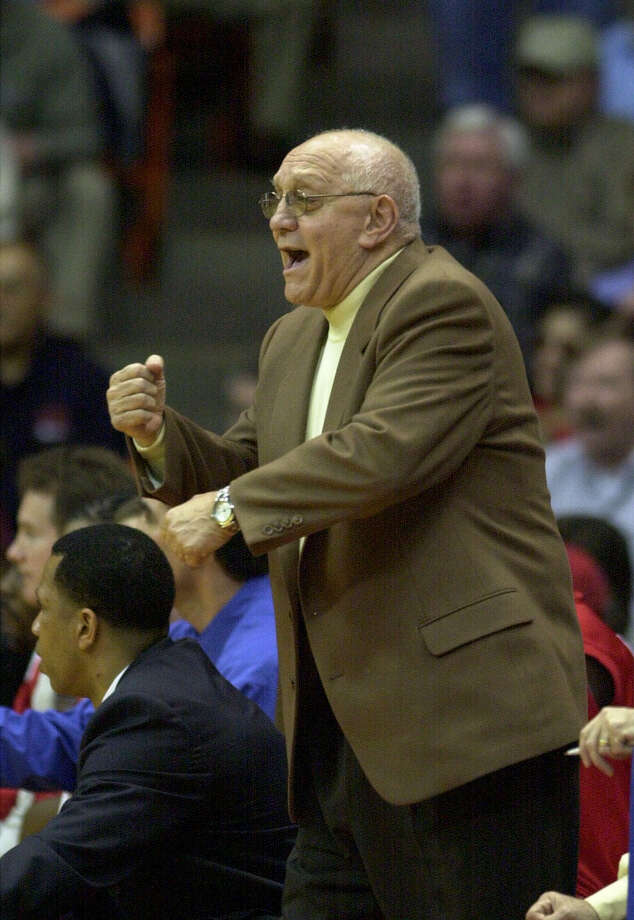 Fresno State head coach Jerry Tarkanian pleads for a traveling call from the officials during action in El Paso against UT El Paso on Saturday, Feb. 17, 2001. Fresno State lost to the Miners. BILLY CALZADA/SAN ANTONIO EXPRESS-NEWS Photo: BILLY CALZADA, EN / SAN ANTONIO EXPRESS-NEWS