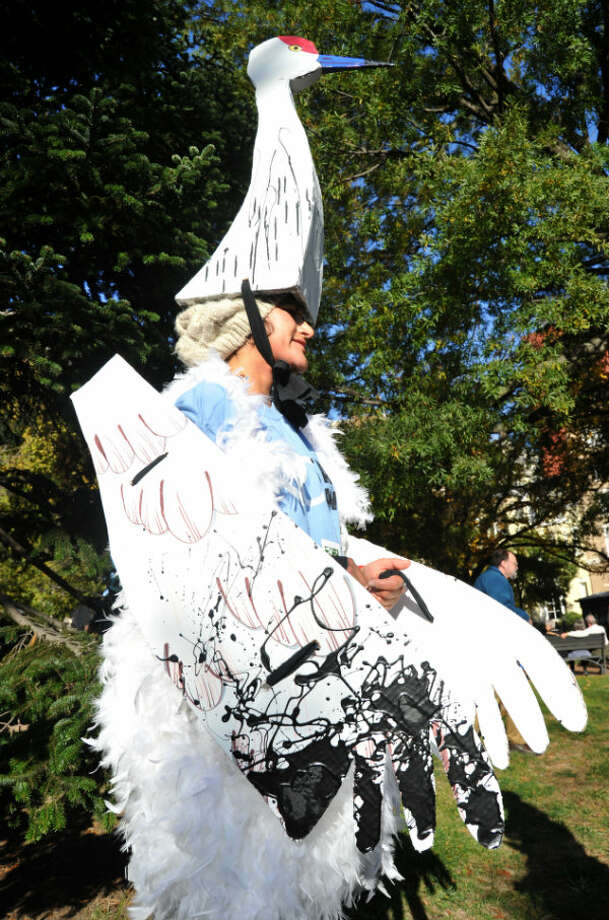 A demonstrator dressed as an oil-soaked bird in Lafayette Park across from the White House in Washington D.C. on November 6, 2011. Photo: KAREN BLEIER, AFP/Getty Images