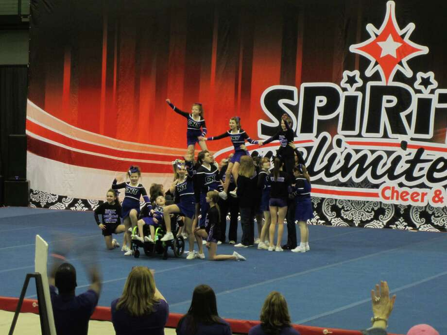 Members of the Rainbows, a local cheerleading team made up of special needs kids perform at the Spirit Unlimited competition on Saturday, April 6, 2013, at University at Albany in Albany, N.Y. (Photo courtesy of Jack Huber)
