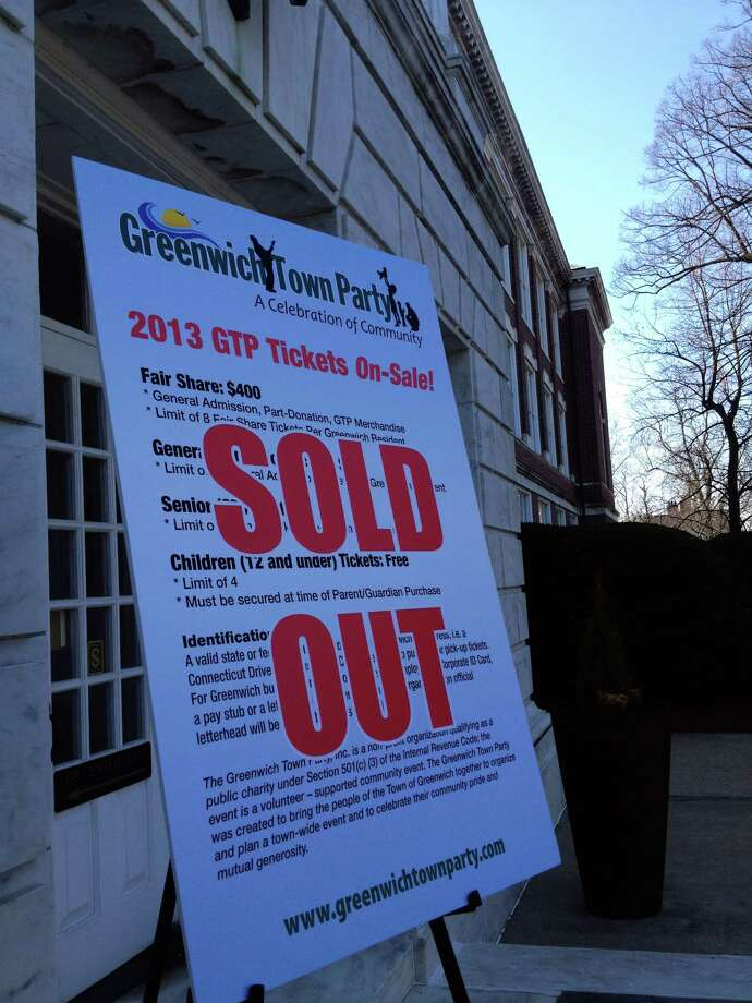A sign at Town Hall in Greenwich, Conn., Monday, April 8, 2013 declared that tickets for the third annual Greenwich Town Party are sold out. Photo: Greenwich Time