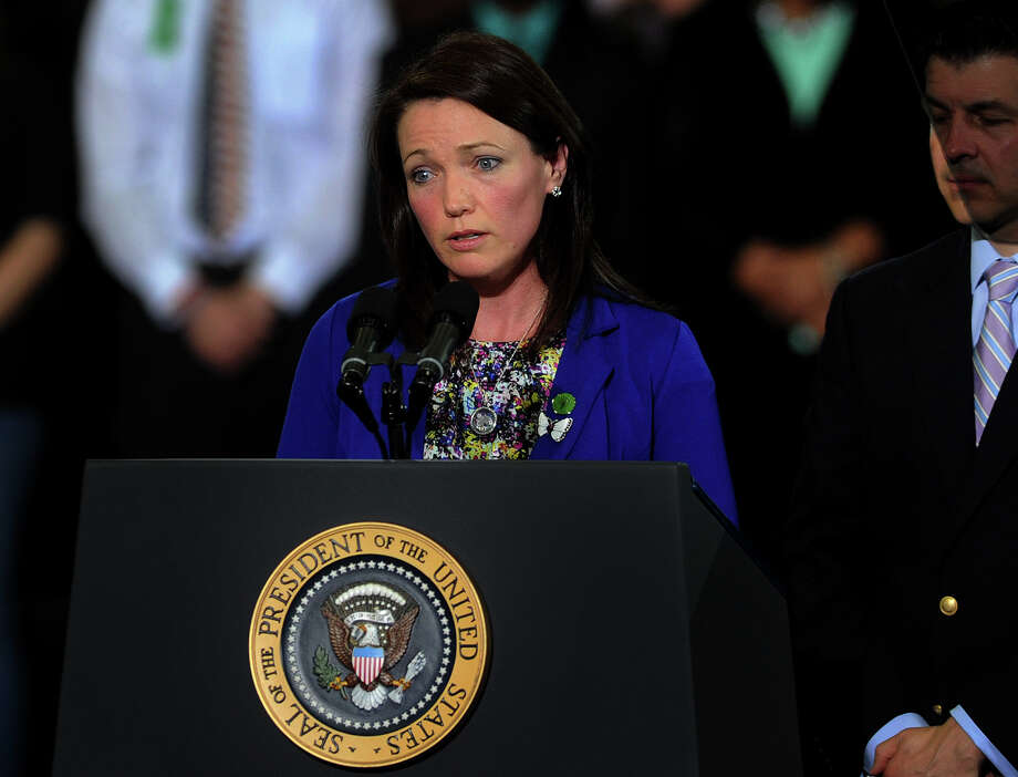 Nicole Hockley, parent of slain Sandy Hook Elementary student Dylan Hockley, delivers her own impassioned speech on gun control before introducing President Barack Obama at the University of Hartford in West Hartford, Conn. on Monday, April 8, 2013. Photo: Brian A. Pounds / Connecticut Post