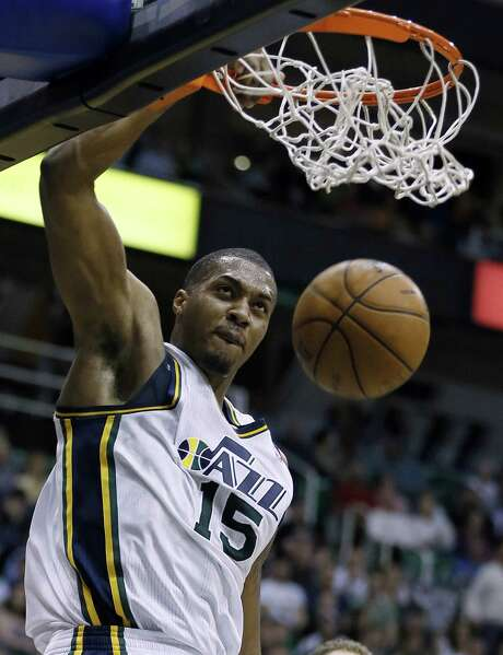 Utah's Derrick Favors, a young power forward, has the confidence of coach Tyrone Corbin. Photo: George Frey / Associated Press