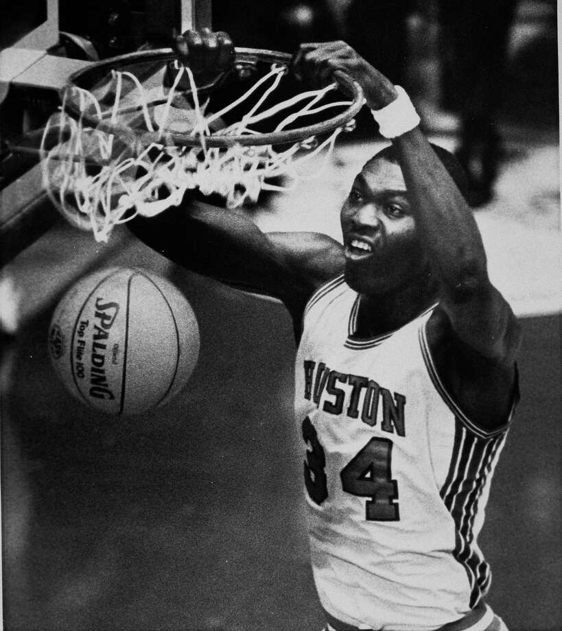 University of Houston's Akeem Abdul Olajuwon is shown during the final round of NCAA Basketball Championship in Albuquerque, N.M., April 1983. Photo: Associated Press File Photo / AP1983