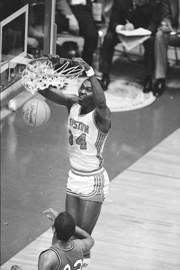 Akeem Abdul Olajuwon is seen in action during the NCAA Tournament, April 2, 1983, against Louisville in Albuquerque. Photo: Associated Press File Photo / 1983 AP