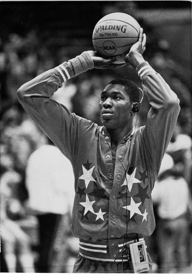 University of Houston's Akeem Abdul Olajuwon is shown at a practice session in Albuquerque, N.M., April 1, 1983. Photo: Associated Press File Photo