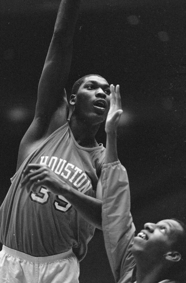 University of Houston's Akeem Abdul Olajuwon is shown at practice for the NCAA Final Four in Houston, March 30, 1983. Photo: Associated Press File Photo