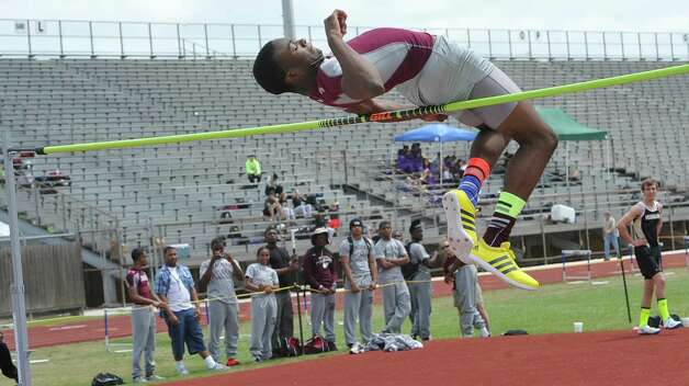 Landen Malbrough, from Central High School, misses one of his attempts in the high jump event because his backside hit the bar. Babe Zaharias Stadium in Beaumont was the site for the District 20-4A track and field meet Monday April 8, 2013.   Dave Ryan/The Enterprise