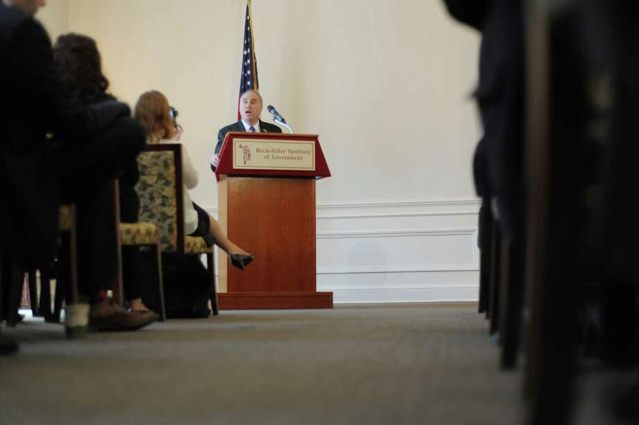 New York State Comptroller Thomas DiNapoli gives the keynote address at the Nelson A. Rockefeller Institute of Government?s public policy event entitled The Fiscal Crisis Facing New York?s Local Governments on Monday, April 8, 2013 in Albany, NY.   (Paul Buckowski / Times Union) Photo: Paul Buckowski