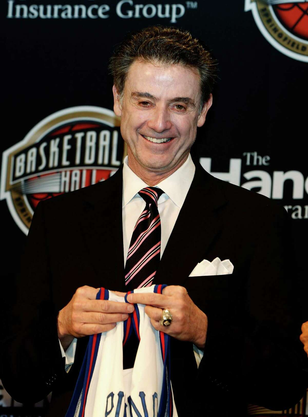 ATLANTA, GA - APRIL 08: Louisville head coach Rick Pitino stands on stage during the 2013 Naismith Memorial Basketball Hall of Fame Annoucement Ceremony at Marriott Marquis on April 8, 2013 in Atlanta, Georgia. (Photo by Mike Zarrilli/Getty Images for Naismith Basketball Hall of Fame)