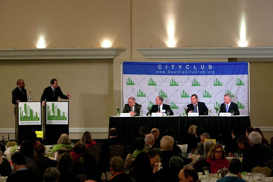 Seated from left, Rep. Frank Chopp, Sen. Rodney Tom, Rep. J.T. Wilcox and Sen. Ed Murray address an audience during City Club's Legislative Preview luncheon on Friday, January 11, 2013 at the Seattle Sheraton. (Photo by Joshua Trujillo, seattlepi.com) Photo: JOSHUA TRUJILLO / SEATTLEPI.COM