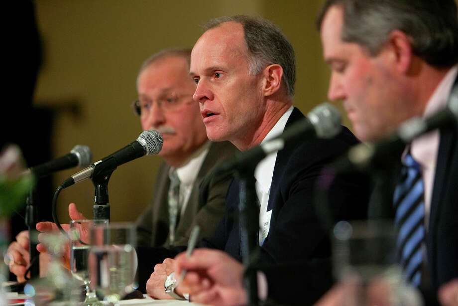 From left, Rep. Frank Chopp, Sen. Rodney Tom, and Rep. J.T. Wilcox address an audience during City Club's Legislative Preview luncheon on Friday, January 11, 2013 at the Seattle Sheraton. (Photo by Joshua Trujillo, seattlepi.com) Photo: JOSHUA TRUJILLO / SEATTLEPI.COM