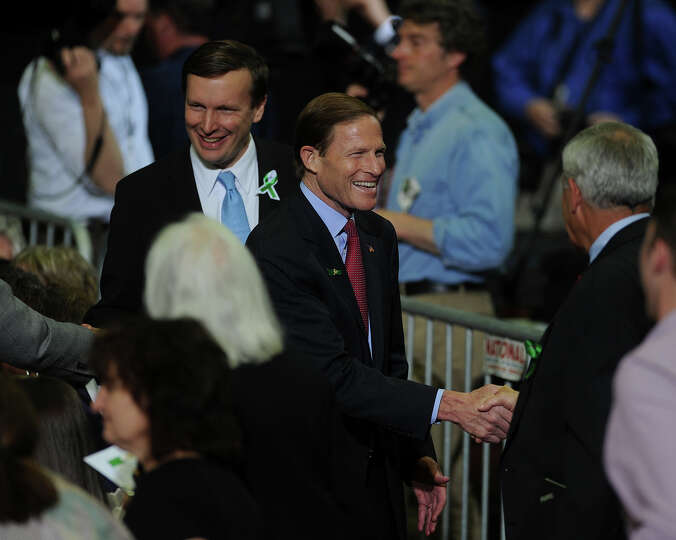 Rep. Chris Murphy, left, and Sen. Richard Blumenthal attend President Barack Obama speech on gun con
