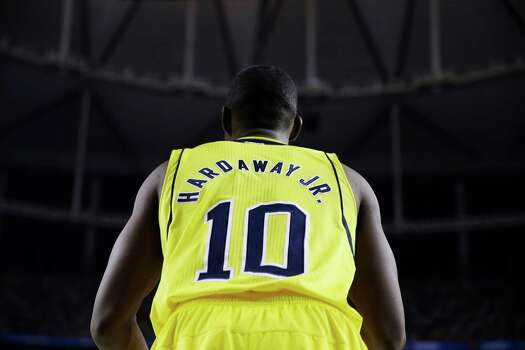 Michigan's Tim Hardaway Jr. (10) is seen during the second half of the NCAA Final Four tournament college basketball championship game against the Louisville Monday, April 8, 2013, in Atlanta. (AP Photo/David J. Phillip) Photo: David J. Phillip, Associated Press / AP