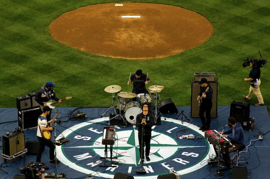 Seattle-based band Pickwick performs before the Seattle Mariners opening home game. Photo: JORDAN STEAD / SEATTLEPI.COM